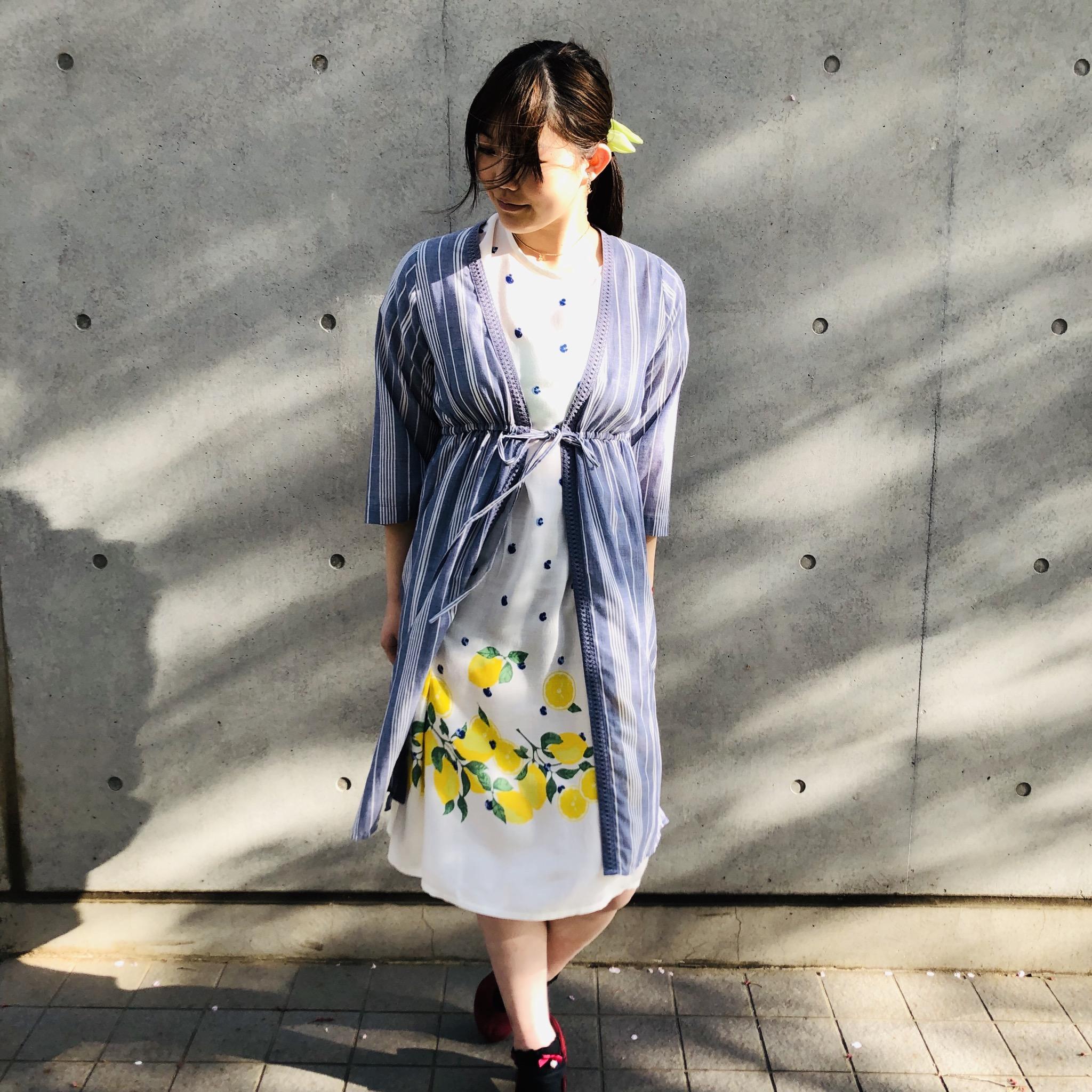 ストライプ羽織りワンピース<br /> ¥3240